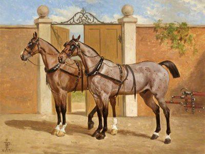 unknown artist; Horses Showing Harness; Cheltenham Art Gallery & Museum; http://www.artuk.org/artworks/horses-showing-harness-62098